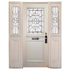 "Vintage Entry Set with Leaded & Beveled Glass, ""The Windsor Room"""