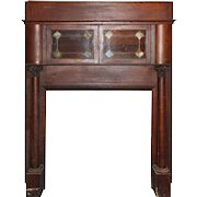 Antique Quarter-Sawn Oak Bookcase Mantel, Stained Glass Cabinets