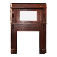 Reclaimed Antique Oak Fireplace Mantel with Beveled Mirror, c. 1910
