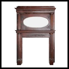 Antique Figural Oak Fireplace Mantel with Beveled Oval Mirror
