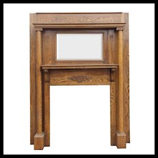 Antique Mantel with Beveled Mirror, Quarter-Sawn Oak