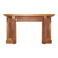 Antique Eastlake Oak Fireplace Mantel, c.1890
