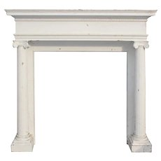 Antique Oak Mantel with Ionic Columns, Early 1900s