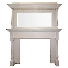 Antique Fireplace Mantel with Beveled Mirror