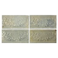 "Antique Tiles with Floral Swag and Ribbons, Old Bridge Tile Co., 6"" x 3"""