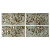 """Antique Tiles with Foliage Design, Old Bridge Tile Co., 6"""" x 3"""""""