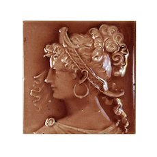 Antique American Grecian Woman Figural Majolica Tile, Trent Tile Co.