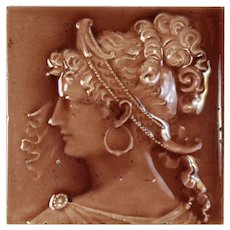 Antique American Grecian Woman Figural Majolica Tile, Trent Tile Co.
