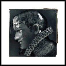 Antique Figural Fireplace Majolica Tile, Trent Tile