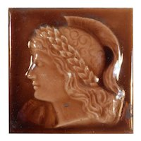 Antique American Roman Soldier Figural Fireplace Majolica Tile, Old Bridge Tile Co.