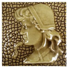 Antique American Figural Fireplace Tile, Girl