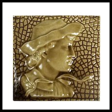 Antique American Figural Fireplace Tile, Boy