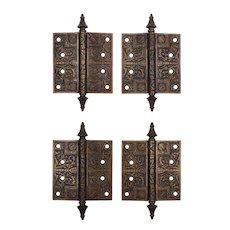 "Antique Pairs of Eastlake 4.5"" Hinges, Bronze Wash"
