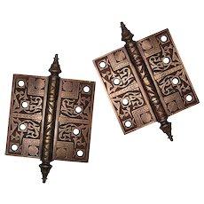 "Antique Pair of Eastlake 4"" Hinges, Cast Bronze"