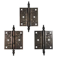 """Antique 3.5"""" Cast Iron Corbin """"Diagonal"""" Hinges, c. 1890s"""