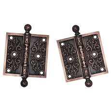"Pair of Antique 3.5"" Eastlake Hinges, c. 1880's"