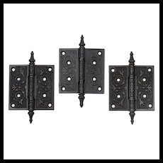 "Antique 4"" Eastlake Hinges in Cast Iron"