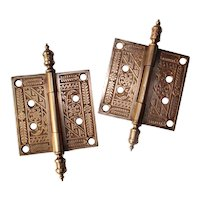 "Pair of Antique 4"" Eastlake Bronze Hinges with Steeple Finials"