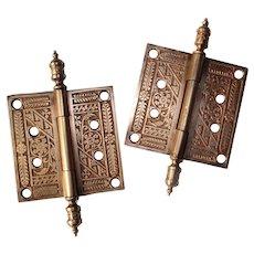 "Pair of Antique 4"" Eastlake Bronze Hinges with Steeple Finials"
