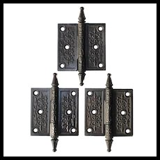 "Set of 3.5"" Eastlake Hinges in Cast Iron, Antique Hardware"