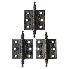 """Set of Antique 3"""" Decorative Hinges in Cast Iron"""