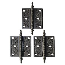 "Set of Antique 3.5"" Decorative Hinges in Cast Iron, c. 1880's"