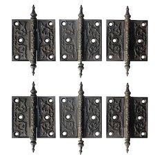 "Matching Pairs of Antique Decorative Cast Iron 3.5"" Hinges, 19th Century"