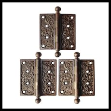 """Set of Antique 4.5"""" """"Columbian"""" Hinges by Reading Hardware, c. 1895"""