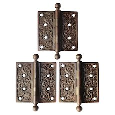 "Set of Antique 4.5"" ""Columbian"" Hinges by Reading Hardware, c. 1895"