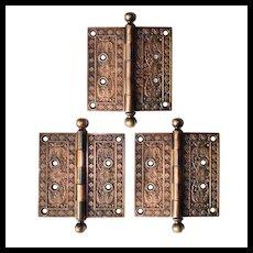 """Set of Antique 5"""" Bronze Hinges, c. 1886"""