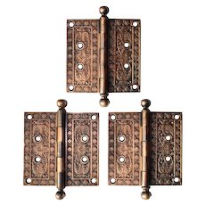 "Set of Antique 5"" Bronze Hinges, c. 1886"