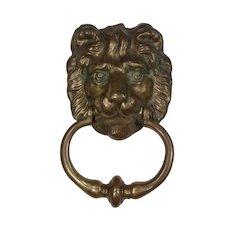 Substantial Antique Brass Lion Door Knocker, C. 1900