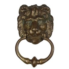 Substantial Antique Brass Lion Door Knocker, C. 1900