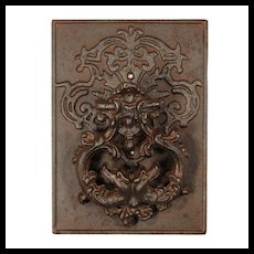 Sizeable Vintage Iron Figural Door Knocker, Dragons