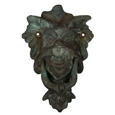 Oversized Antique Bronze Lion Door Knocker with Verdigris Patina
