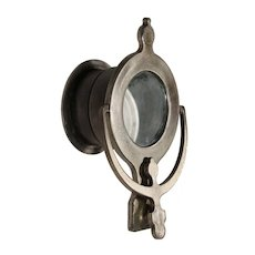 Vintage Darkened Nickel Door Knocker and Peephole