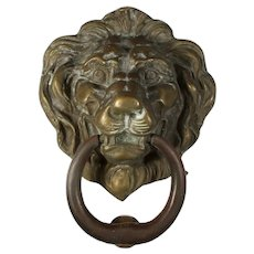 Antique Cast Bronze Lion Door Knocker, C. 1910