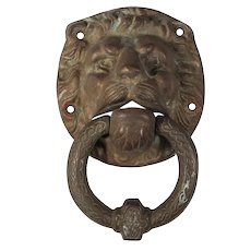 Antique Lion Door Knocker, Cast Bronze