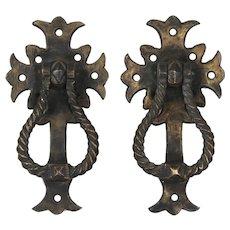 Antique Bronze Tudor Door Knockers, C. 1930