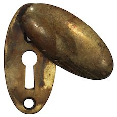 Antique Cast Brass Swinging Keyhole Escutcheon
