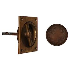 Complete Antique Brass Hardware Sets with Matching Escutcheons by Sargent