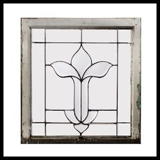 Antique American Leaded and Beveled Glass Window, Stylized Flower