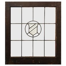 Antique American Beveled and Leaded Glass Window, Shield