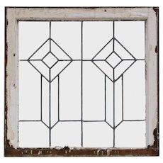 Antique American Leaded Glass Window, Geometric