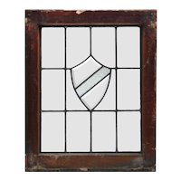 Antique American Leaded and Beveled Glass Window, Shield