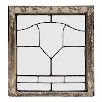 Antique American Leaded Glass Window, Shield