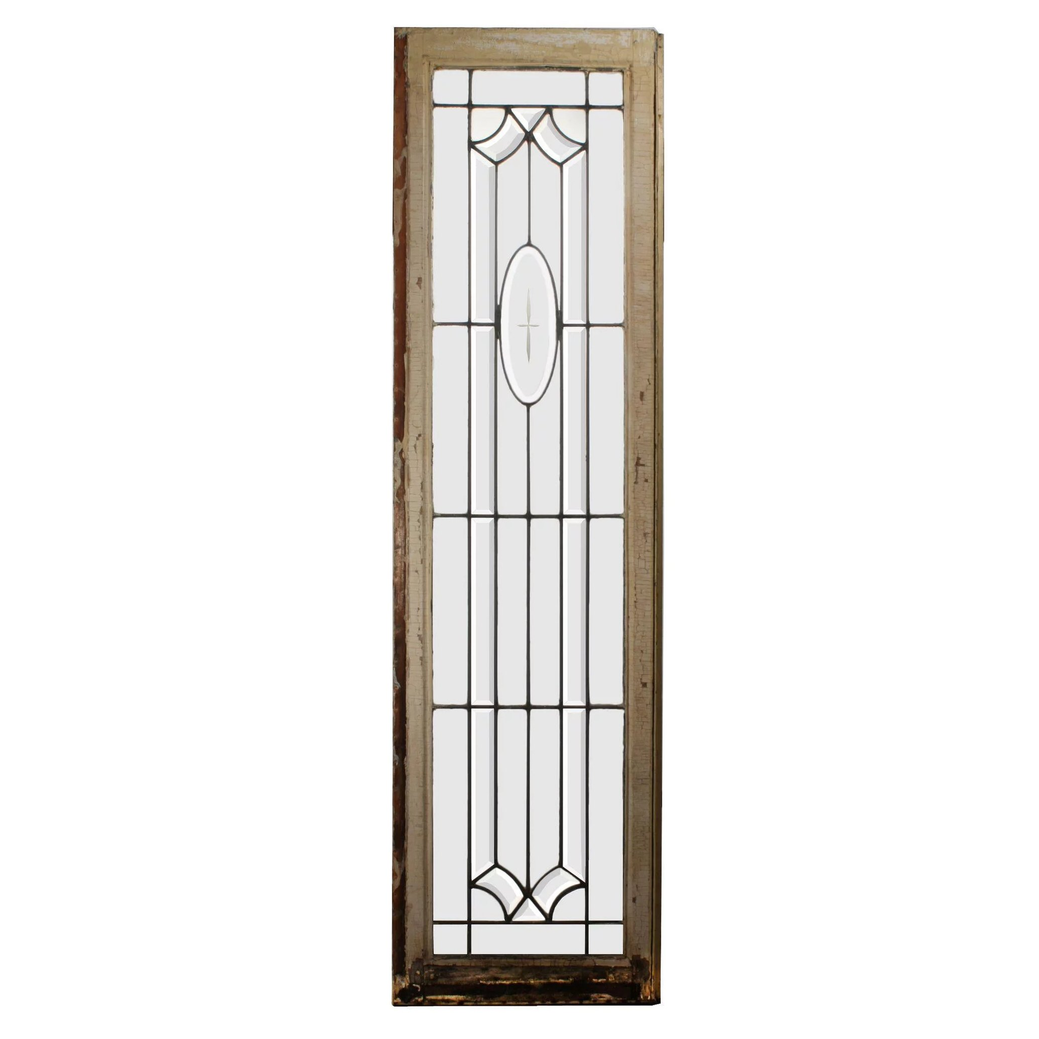 Antique American Leaded And Beveled Glass Window Wheel Cut Cross Preservation Station Ruby Lane