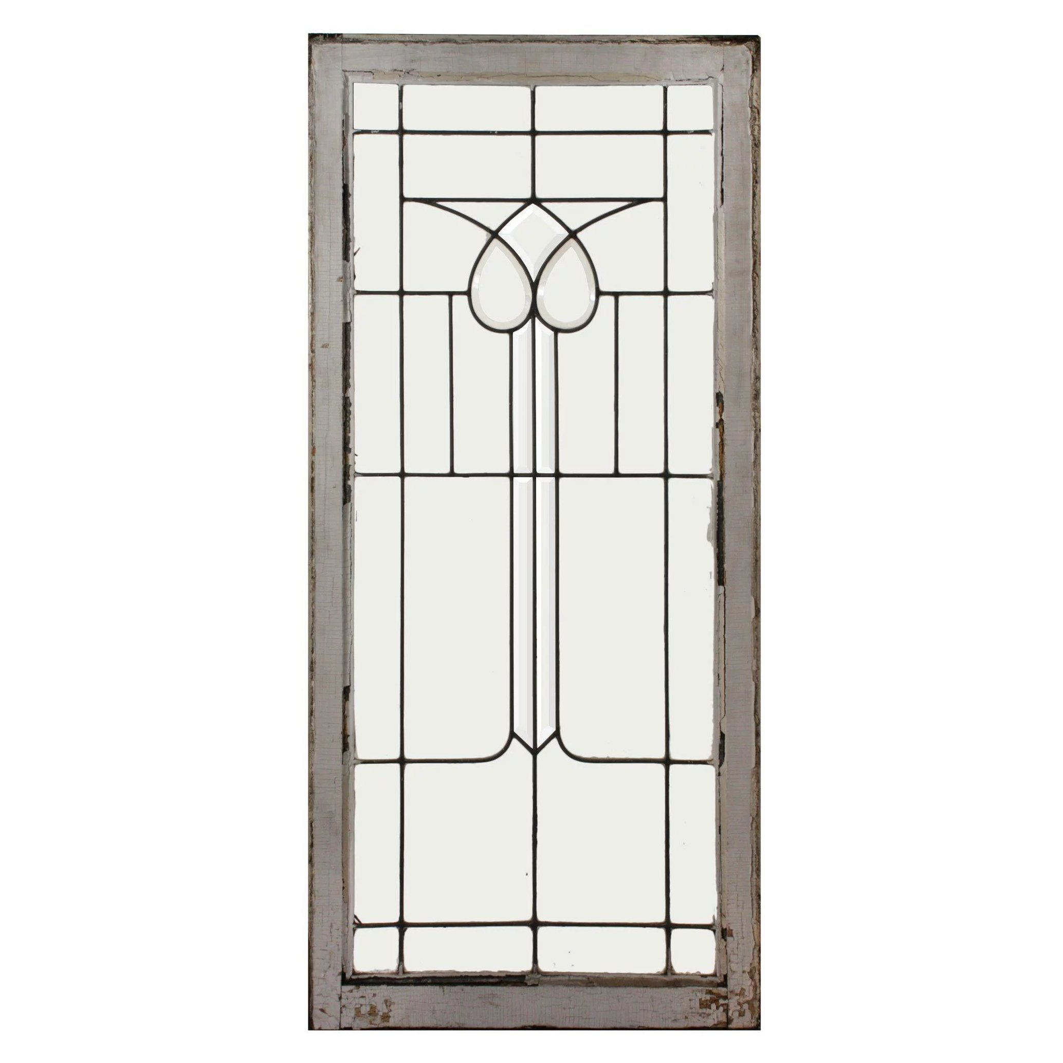 Antique American Leaded And Beveled Glass Window Stylized Flower Preservation Station Ruby Lane