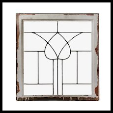 Antique American Leaded Glass Window, Stylized Tulip