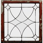 Antique American Leaded and Beveled Glass Window, Early 1900s